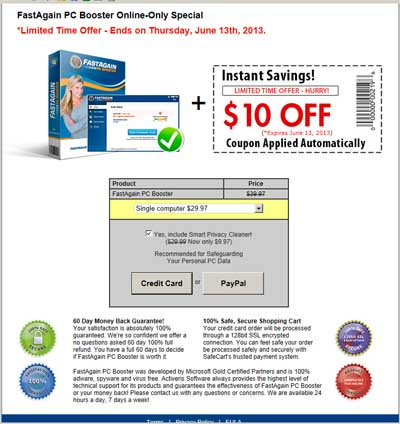 Expiring coupon FastAgain PC Booster