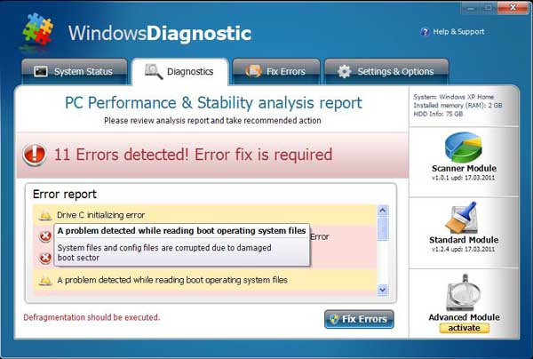 Windows Diagnostic Malware - Rogue Antivirus